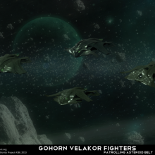 Gohorn Velakor Fighters Patrolling an Asteroid Belt by Anton Cherevan
