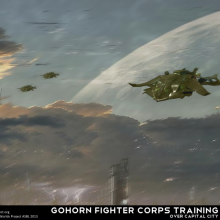 Gohorn Fighter Corps Training over Gohorn Prime by Anton Cherevan